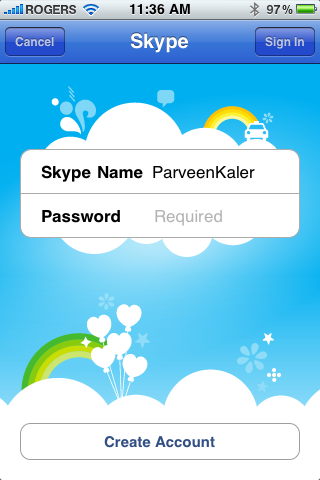 Skype Sign In Screen